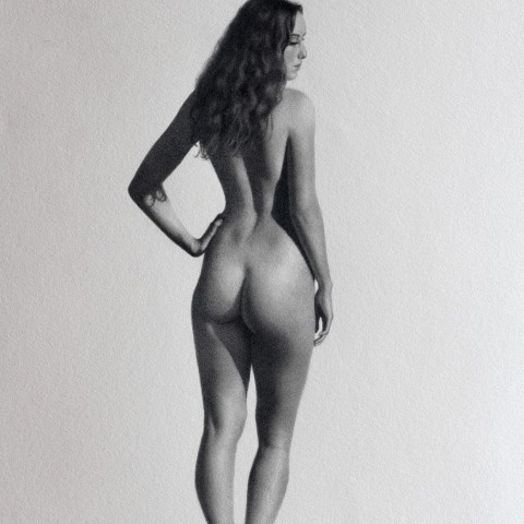 Title:Figure study, Medium: Graphite on Canson paper, Size: H 40cm x w 30cm, available