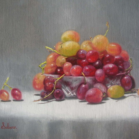 Title:Grapes, Medium: oil on linen, Size:  H 25cm x w 30cm, available
