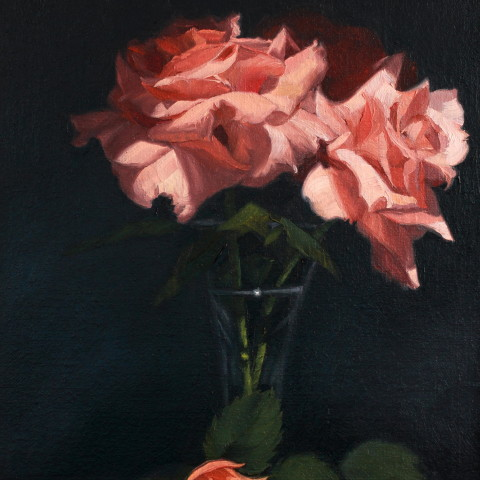 Title:Rose Study, Medium: oil on linen, Size: h 36cm x w 27cm, available