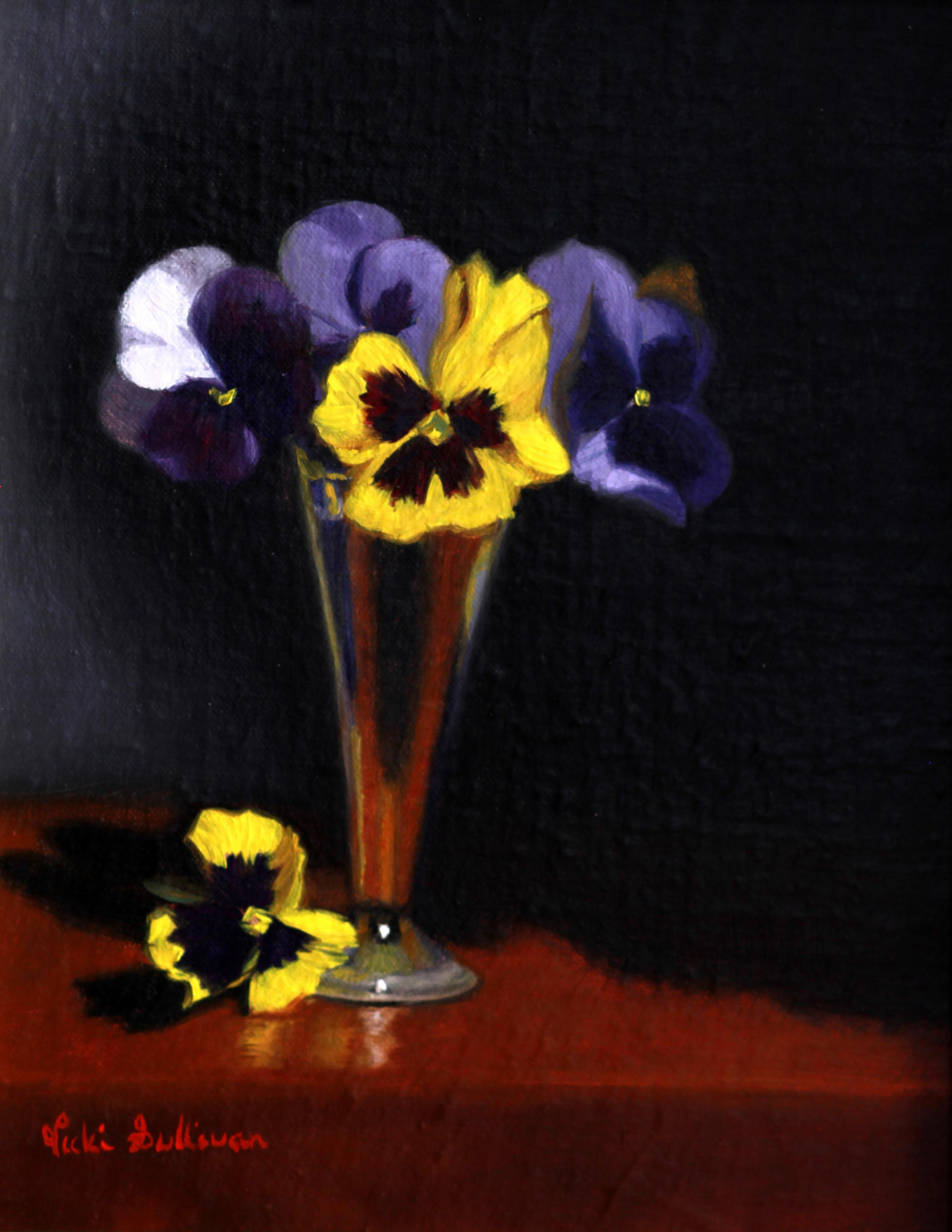 Title:Pansy Study, Medium: oil on linen, Size: h 30cm x w 25cm, available