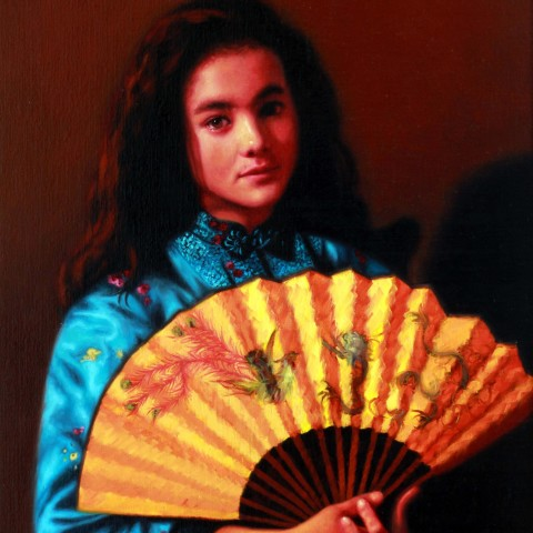 Title: Olivia by Lamplight, Medium:oil on linen, Size h 85cm x w 60cm, (Private Collection}}