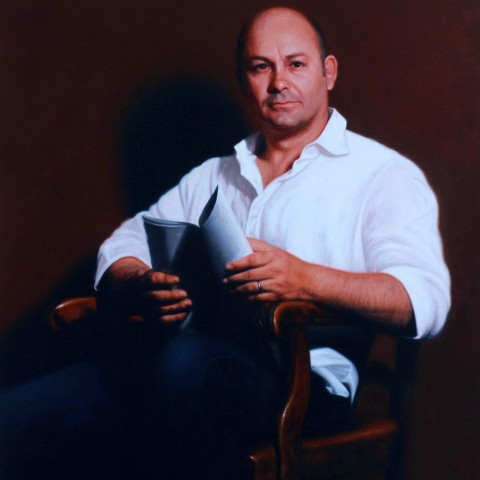 Title:Portrait of Steve Bastoni, oil on linen, Size:h 120cm x w 90cm (private collection)