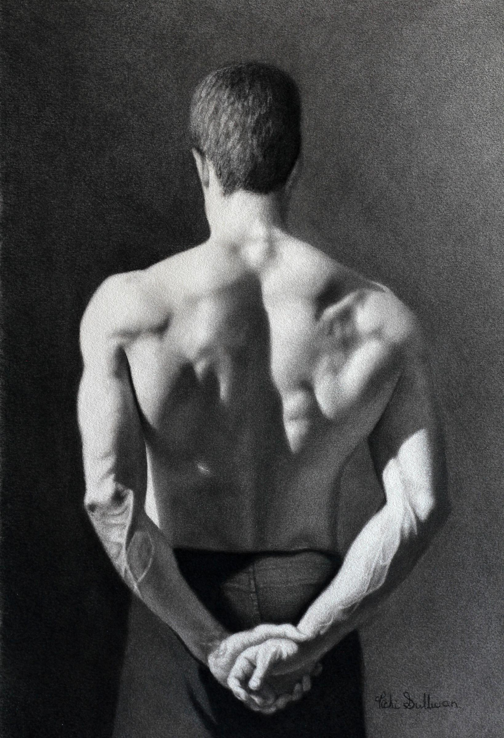 Title:Back of a Soldier, Medium: Charcoal , Size: h 40cm x w 30cm, private collection