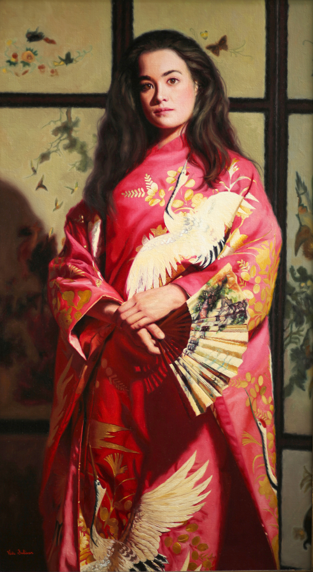 Title:Kimono with white Cranes, Medium:oil on linen, Size: h 120cm x w 66cm, available