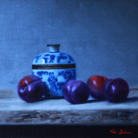 Title:Blue Plums and Chinese lidded bowl, Medium: oil on linen, Size: H 30cm x w 35cm , Available