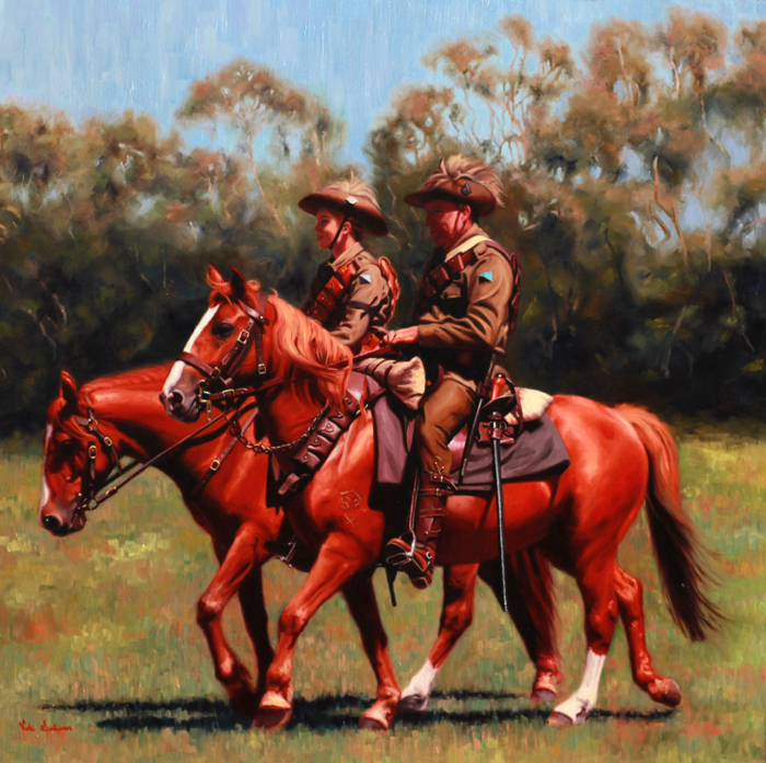Title: Lighthorse, Walers and Kangaroo feathers, Medium: oil on linen, Size: h 70cm x w 70cm Available