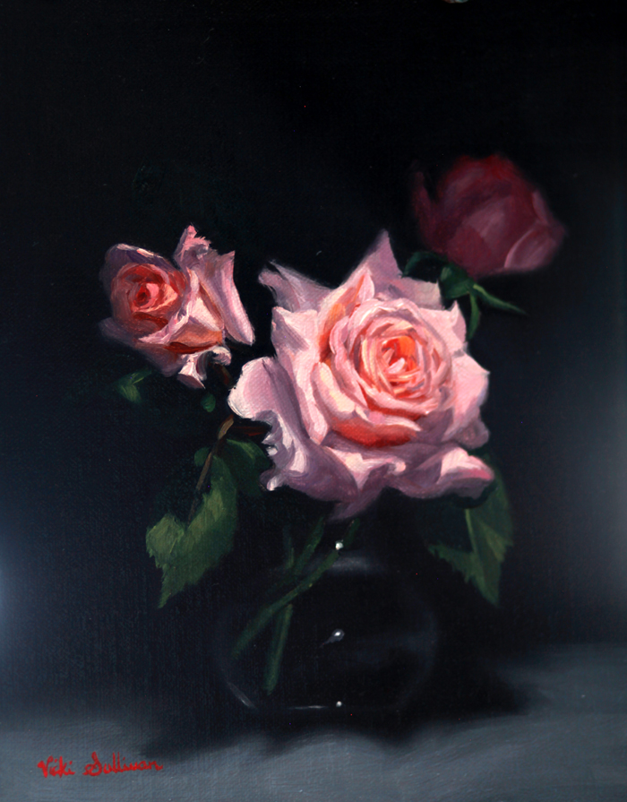 Title: Pink for Spring, Medium: oil on linen, Size: H 25cm x W 20cm, available