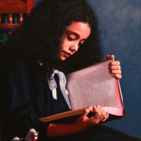 Title:Reading Heidi, Medium: oil on linen, Size: h 60cm x w 42cm, available