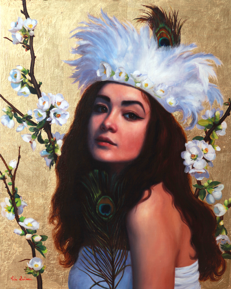 Title:Fey Whispers of Japonica, Medium:Oil on linen, Size: H 50cm x w 40cm, Private Collection
