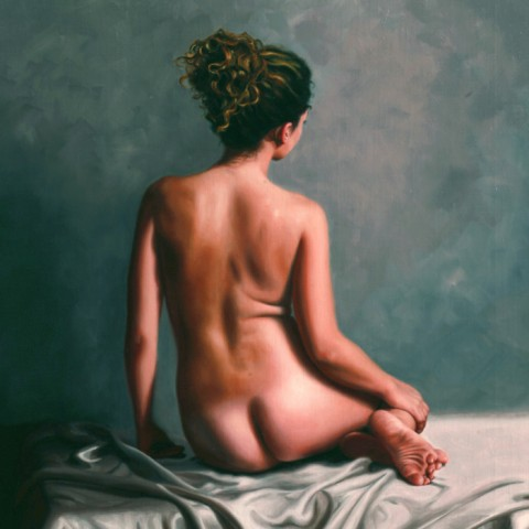 Title: Back Study of Brianna, Medium:oil on linen, Size: H 76cm  x 64 Available