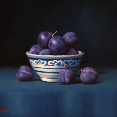 Title:Blue Damson plums, Medium: Oil on linen, Size: h 30cm x w 40cm