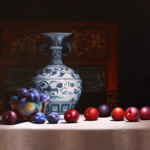 Title: Blue Plums with Chinese vase, Medium: oil on linen , Size: H 58cm x W 70cm, Private Collection