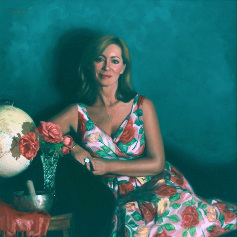 Title: Coming up Roses, portrait of Kerry Armstrong, Medium: oil on linen, Size: h 90cm x w 90cm ,available