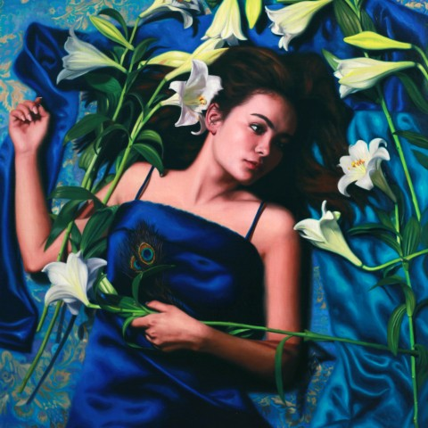Title:Fleeting Lilly, Medium: Oil on linen, Size: H 90cm x w 70cm, available