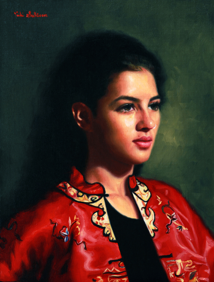 Title: Girl in a Red Robe, Medium:Oil on Linen, Size: H 40cm x w 30cm, Available