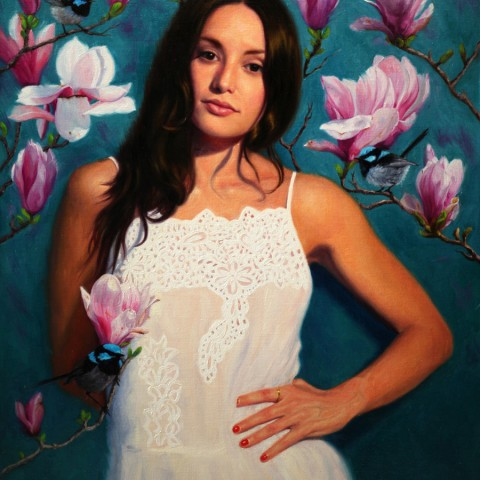Title:When I dream of Magnolias, Medium:oil on linen, Size: H 72cm x W 60cm, available