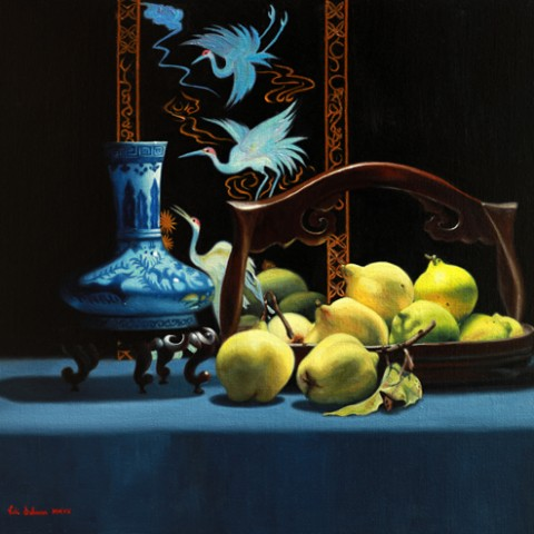 Autumn Quinces, oil on linen, H 50cm x w 60cm, Available