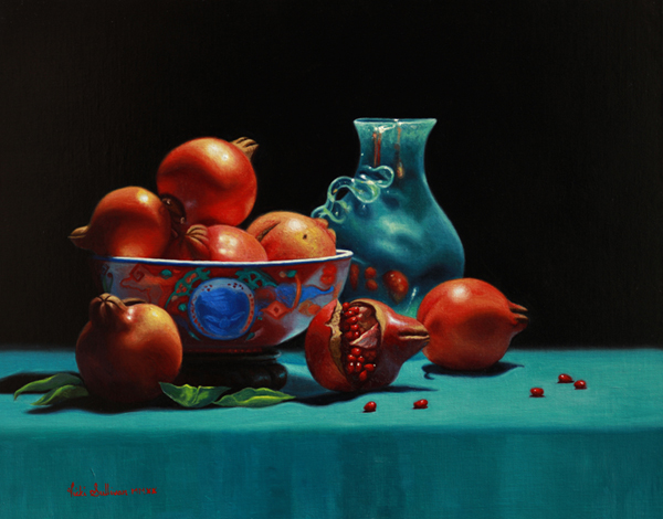 Imari Bowl with Pomegranates, oil on linen, H 40cm x w 50cm, Available