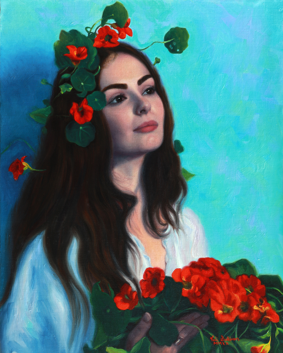 Ophelia, oil on linen, H 49cm x w 39cm, Available