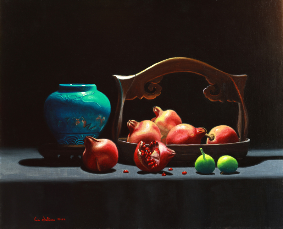 Pomegranates and Figs, oil on linen, h 51cm x w 61cm, Available