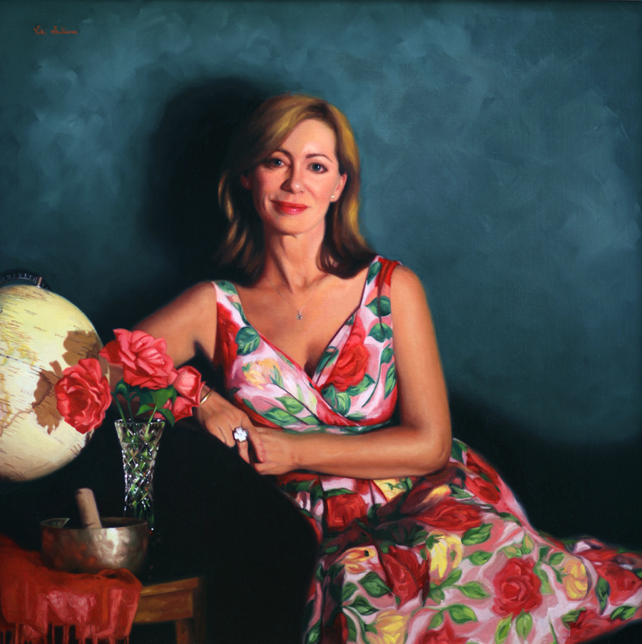 Coming Up Roses, Portriat of Kerry Armstrong, oil on linen, H 90cm x W 90cm Available