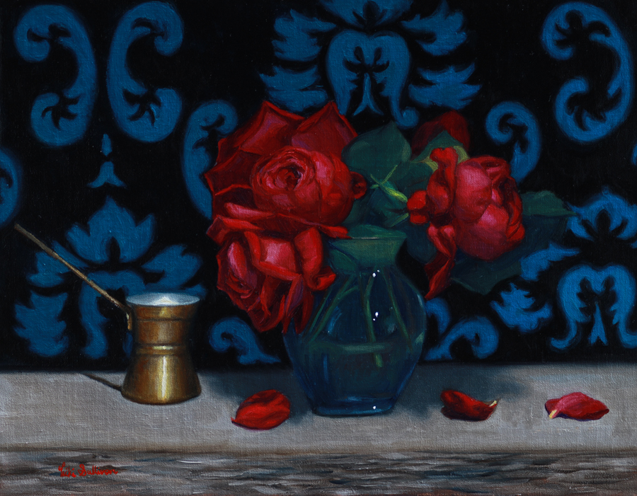 Mothers favorite Red Roses, oil on linen,  H 35cm x w 45cm, Available