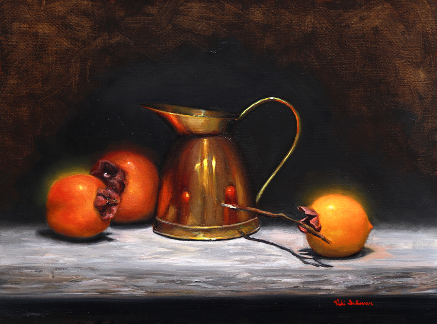Persimmons with Copper jug, oil on linen, H 29cm x w 39cm Available