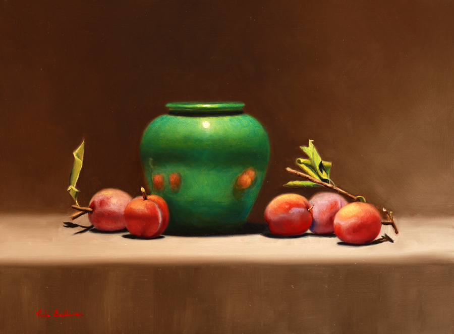 Fresh plums with Green pot, oil on linen, H 30cm x w 40cm, Available